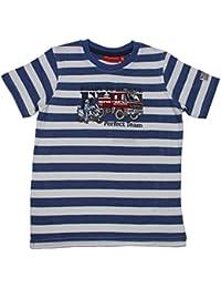 Salt and Pepper - Jungen T-Shirt Kurzarm-Shirt Feuerwehr gestreift, blau - 73112136