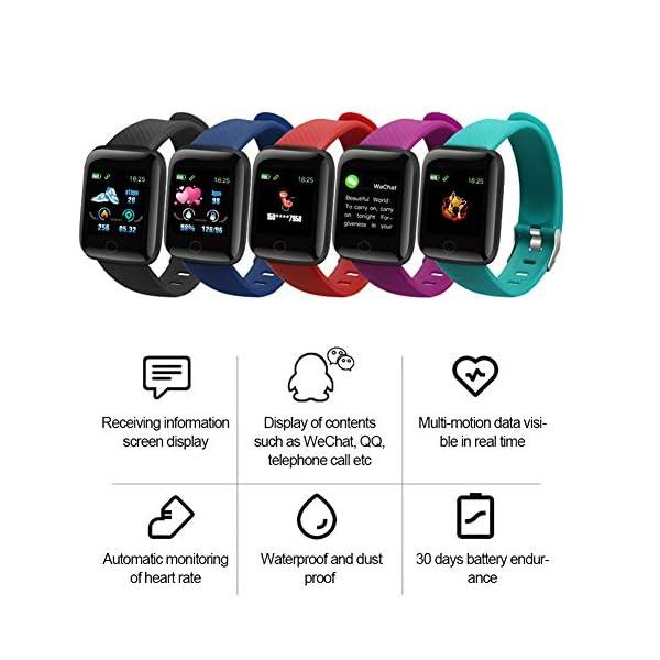 LEEBA Reloj Pulsera Inteligente, rastreador de Actividad física,Pantalla a Color Ritmo cardiaco Presión sanguínea… 2