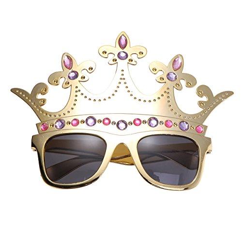 Kinder Muster Kostüm Cupcake - BESTOYARD Geburtstagsbrille, lustige Sonnenbrille, Brille mit Kronenform, für Kinder, Erwachsene, Geburtstagsgeschenk, Party, Geschenk, Zubehör (Gold)