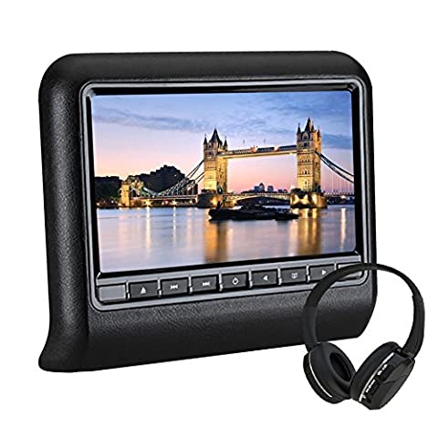 Car Headrest DVD Player Universal 10.1'' Multimedia Artificial Leather Wide View TFT LCD Screen WZMIRAI Tablet-Style Clip-On dvd player for trip Support IR/USB/SD/FM with Remote Control