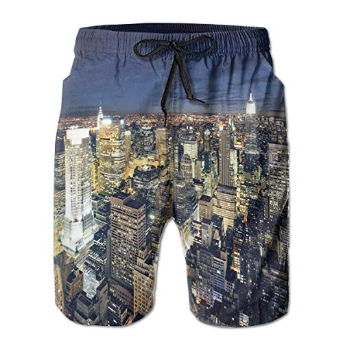 MIOMIOK Mens Beach Shorts Swim Trunks,Modern Cityscape After Sunset Manhattan New York USA Architectural View Yellow Tan Dark Blue,Summer Cool Quick Dry Board Shorts Bathing SuitL