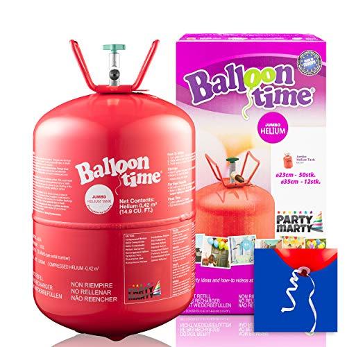 PartyMarty Set Helium Balloon Time ECO 50 Ballongas + Ballon Schnellverschlüsse für Hochzeit, Partys, Dekorationen und Geburtstage GmbH