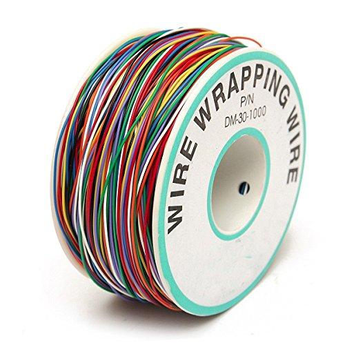ELEGIANT Wrapping Test Kabel, Wrapping Test-Kabel Kupferdraht Wickeldraht Kabeltrommel Kabelrolle P/N B-30-1000 200M 30AWG 8-Wire farbig -