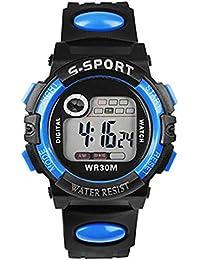 Mens impermeable deportes al aire libre luz nocturna LED Digital cuarzo alarma fecha banda de goma reloj de…