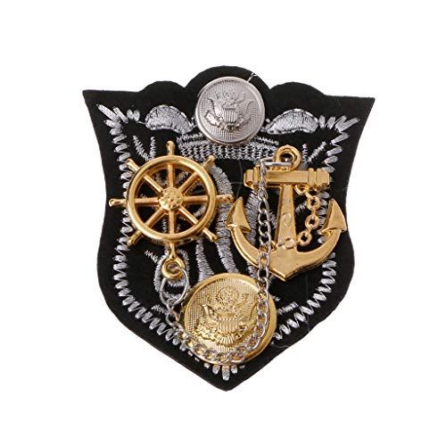 ge Abzeichen Brosche Anker Stoff Bestickt Epaulet Medaille Military Suit Pins D ()