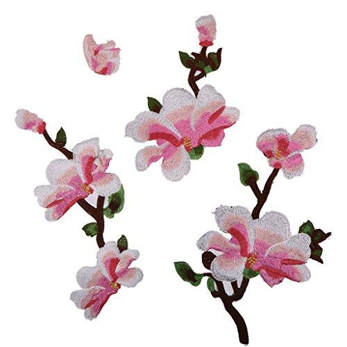 MagiDeal 4x Magnolie Blumen-Stickerei-Spitze Aufnäher Applikation Applique Flicken Embroidered...