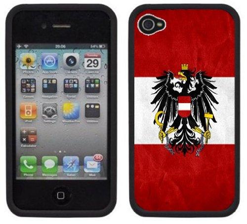 Drapeau de l'Autriche   Fait à la main   iPhone 4 4s   Etui Housse noir