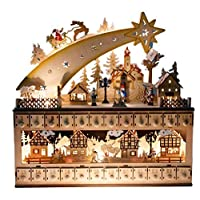 "Clever Creations Shooting Star Snowy Village 24 Day Advent Calendar Premium Christmas Décor | Painted Characters | 100% Wood Construction | Cute Holiday Decoration | Measures 17"" x 4"" x 17.25"""