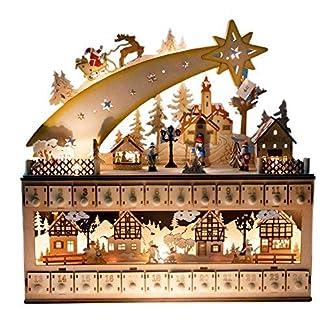 Clever Creations – Calendario de Adviento – Cuenta atrás de 24 días hasta Navidad – 100% Madera con figuritas pintadas – Forma de Estrella fugaz y Ciudad Nevada – 43,2 x 10,2 x 43,8 cm