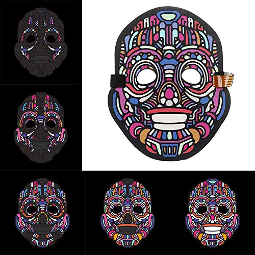 Sound Reactive LED Halloween Masken Musik Sprachsteuerung / Full Face Light up Maske - Light Up Maske