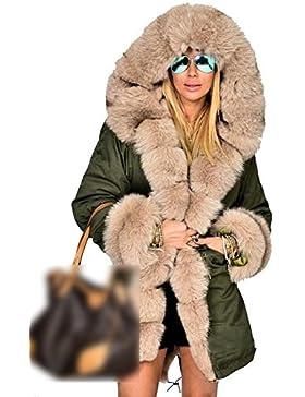 La Mujer De Invierno Cálido Espesar Con Capucha Casual Faux Fur Lined Parkas Chaquetas Abrigos