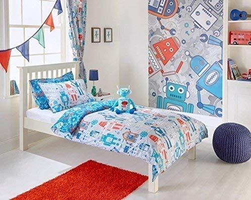 Kids Single Roboter grau Blaugrün Blau Rot Baumwolle-Mischung Bettbezug Set - Blaue Baumwolle Mischung