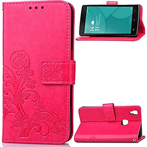 Custodia Doogee X3 Cover Red Rose, Cozy hut [Retro] [Matte] Retro lucky Clover Modello Design Con Cinturino da Polso Magnetico Snap-on Book style Internamente Silicone TPU Custodie Case in pelle Protettiva Flip Cover Per Doogee X3 4,5 Zoll - Rose Red