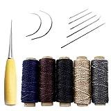 Pingranso - 14pièces - Aiguilles à coudre avec fil en cuir ciré, poinçon de perçage et dé à coudre - Pour la réparation du cuir