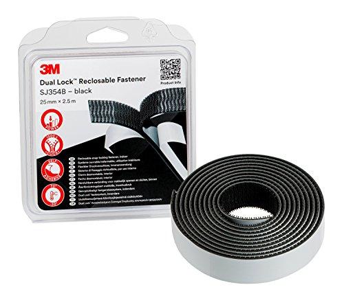 3M SJ354B Dual Lock - flexibler Druckverschluss, 25 mm x 2.5 m, Schwarz -