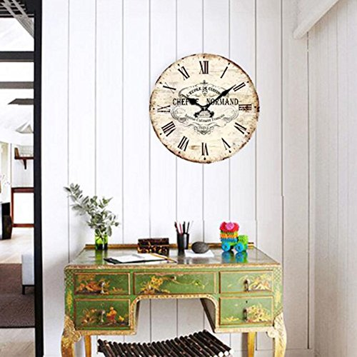Guoey lou mutande orologio silenzioso artistico creativo rétro in stile europeo round vintage colorato decorativo rustico in legno di antiquariato