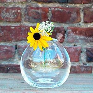 Glasmanufaktur Mitienda,Moderne Vase Monaco 15cm, Dekovase klar, Blumenvase mit Bauch, mundgeblasene Vase