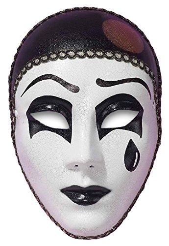 The Dragons Den Schwarz & Weiß Pierrot Karneval Masquerade Maske Tropfenform Geknackt Stil Mime Maske