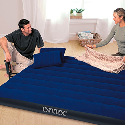 Intex Luftbett Classic Downy Blue Queen Set, blau, 152 x 203 x 22 cm/4-teilig -