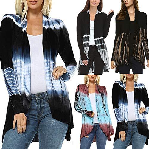VJGOAL Mantel Damen Jacke Elegant Große Größen Strickjacke Frühjahr Herbst Beiläufig Farbverlauf Drucken S-XXXXXL Lange Ärmel Coats Browning-camo Sweatshirt