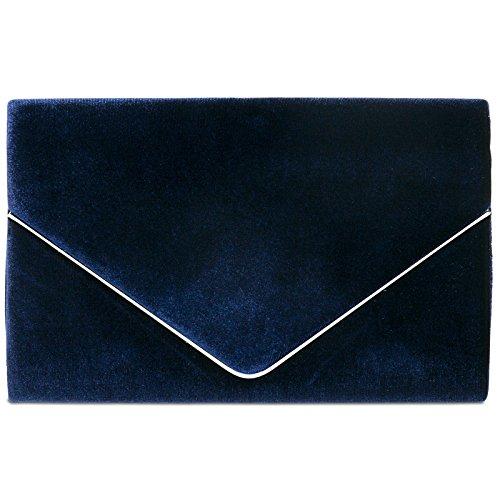 Caspar ta375 donna pochette elegante in velluto, colore:blu scuro;dimensioni:taglia unica