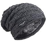 Herren Strickmütze Dickem Vlies Gefüttert Winter Skull Cap (754-Grau)