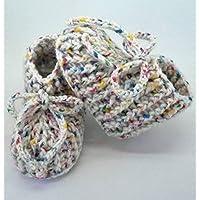Patucos de ganchillo, clásicos, hechos a mano, para bebés de 0-3