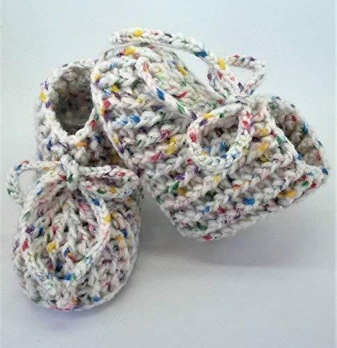Patucos de ganchillo, clásicos, hechos a mano, para bebés de 0-3 meses. Temporada Otoño-Invierno...