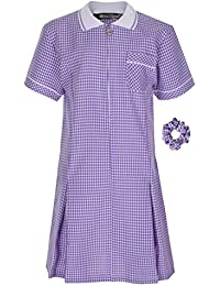 f2109c52f9d2e Miss Chief Girl s School Uniform Pleated Gingham Summer Dress + Hair Bobble  Age 3 4 5