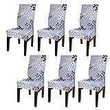 BTSKY - coprisedie elasticizzati, semplici, moderni, rimovibili, elastici, lavabili, per proteggere le sedie della sala da pranzo (sedie non incluse) Grey Flower
