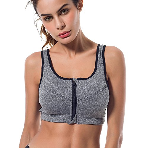 Sport-BH, Shinymod Laufen BH Front Zipper Push Up Kompression Stoßdämpfer BH Ultimate Comfort Unterstützung Stretch-Aktion Soft Wide Strap Bounce Control High Impact Yoga Fitness Übung BH (Aktion Komfort-sport-bh)