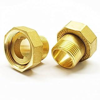Stabilo-Sanitaer 2 x Wasserzählerverschraubung 1' AG x 1 1/4' IG Wasserzähler Messing Verschraubung