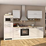 Pharao24 Hochglanz Küchenblock in Weiß Eiche Sonoma E-Geräte (13-teilig)