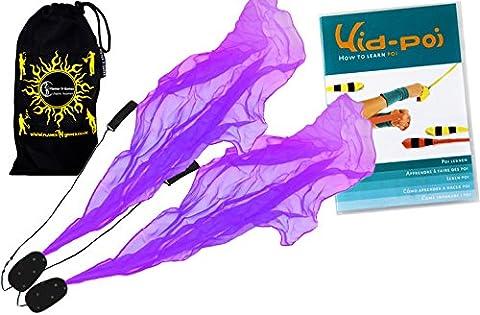 Flames N Games ANGEL POI Set (Purple) Practice Poi AKA Scarf Spiral Poi + KID Poi DVD + Travel Bag