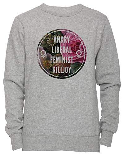 Erido Angry Liberal Feminist Killjoy Unisexo Hombre Mujer Sudadera Jersey Pullover Gris Tamaño XXL Men's Women's Sweatshirt Grey XX-Large Size XXL