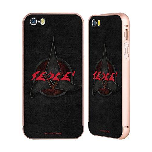 Ufficiale Star Trek We Are Klingons! Klingon Citazioni Oro Cover Contorno con Bumper in Alluminio per Apple iPhone 5 / 5s / SE Qapla
