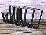Tischgestell Tischfuß Tisch Kufen Tischbeine Rohstahl Schwarz Weiß STAHL 2 Stück (70 x 71 cm, Schwarz)