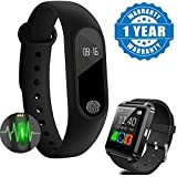 Xiaomi Mi Note 2 Compatible Certified Smart Band With Bluetooth/Heart Rate sensor/Sleep Monitoring/Pedometer & U8 Android OS Smart Watch (1 Year Warranty)