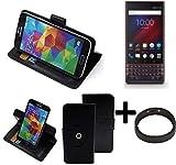 K-S-Trade® Hülle Schutzhülle Case Für -BlackBerry Key 2 LE Dual-SIM- + Bumper Handyhülle Flipcase Smartphone Cover Handy Schutz Tasche Walletcase Schwarz (1x)