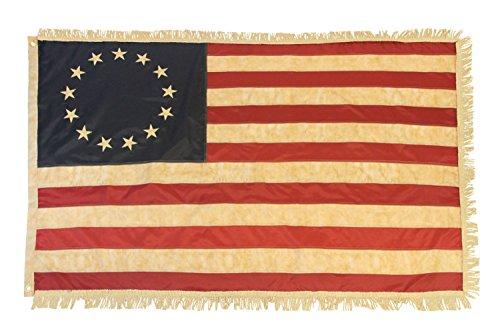 Betsy Ross Vintage Flagge mit Gold Fransen-3x 5'Flagge, bestickt, Gründerväter -