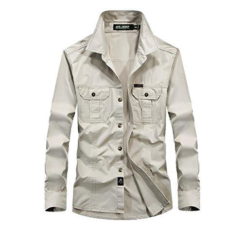 DeLamode Männer Jeep Herbst Baumwollhemd Lässig 6XL Plus Size Pocket Dress Unterwäsche Beige-XS (Button-down-tuxedo)