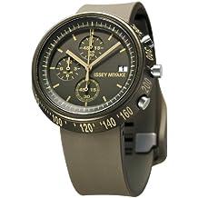 Issey Miyake SILAZ008 - Reloj cronógrafo de cuarzo unisex con correa de plástico, color marrón