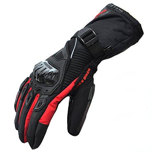 Winddicht Wasserdicht Warm Winter Motorrad Handschuhe Riding Radfahren Herren Handschuhe (L,Rot)