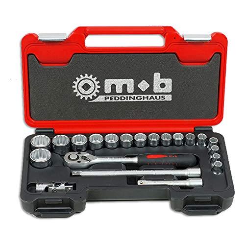 Coffret de clés à douilles 21 outils 1/2' - 12 pans - Type : Coffret de clés à douilles 21 outils 1/2'' - 12 pans - MOB OUTILLAGE