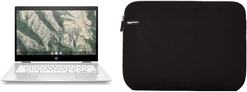 """HP Chromebook x360 14b-ca0010nf Ordinateur Ultraportable Convertible et Tactile 14'' HD Blanc (Intel Pentium Silver, RAM 4 Go, eMMC 64 Go) & AmazonBasics Housse pour Ordinateur Portable 35,6 cm (14"""")"""