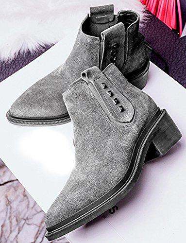 Aisun Femme Rétro En Nubuck Bout Pointu à Enfiler Low Boots Bottines Gris