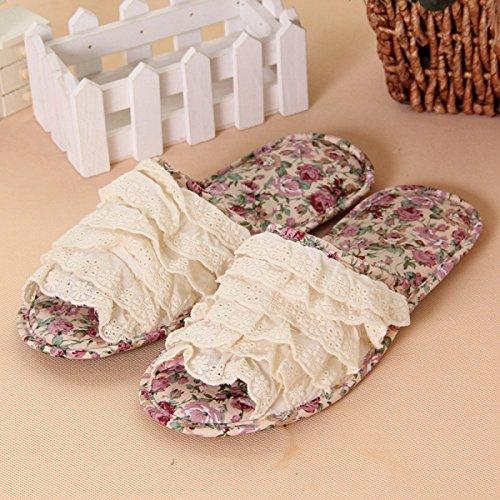 Printemps Coréen Et Automne Dentelle Beige Dentelle Chaussures De Plancher Accueil Pantoufles Pantoufles Accueil Chaussures,Orange Pink