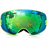 Kids Ski Goggles, COPOZZ Children Snow Glasses with Detachable Wide Vision Double Anti-fog Spherical Lens UV400 Protection for Youth Girls Boys Skiing Snowboarding Outdoor Sport (Green)