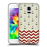 Head Case Designs Anker Und Chevron Marine Muster Soft Gel Hülle für Samsung Galaxy S5 Mini