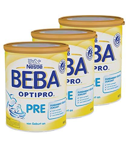Nestlé BEBA OPTIPRO PRE Anfangsmilch, leicht verträglich, Pulver, von Geburt an, 3er Pack (3 x 800g)